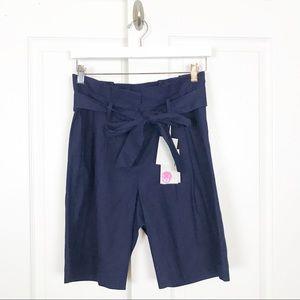 "BODEN St. Ives Navy Paperbag Waist 9"" Linen Short"